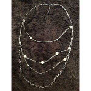 layered silver pearl long necklace